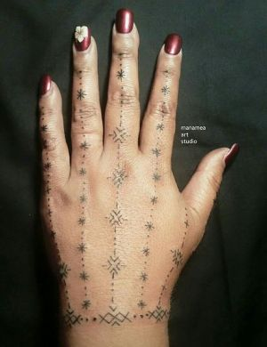 Traditional Samoan womens hand tattoo, created exclusively for Aga Please don't copy  be