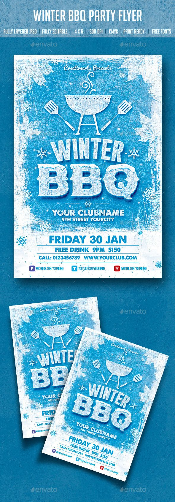 Winter BBQ Party Party Events Flyer Template And Bbq Party