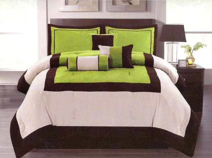 7 Pc Modern Micro Suede 3 Tone Bed Comforter Set Queen