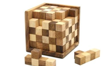 12 Piece Wooden Block Puzzle Cube Solution Wooden Thing