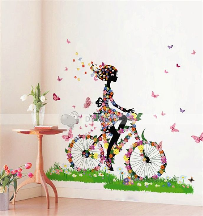large countryside style flower bike girl butterfly home on wall stickers painting id=69902