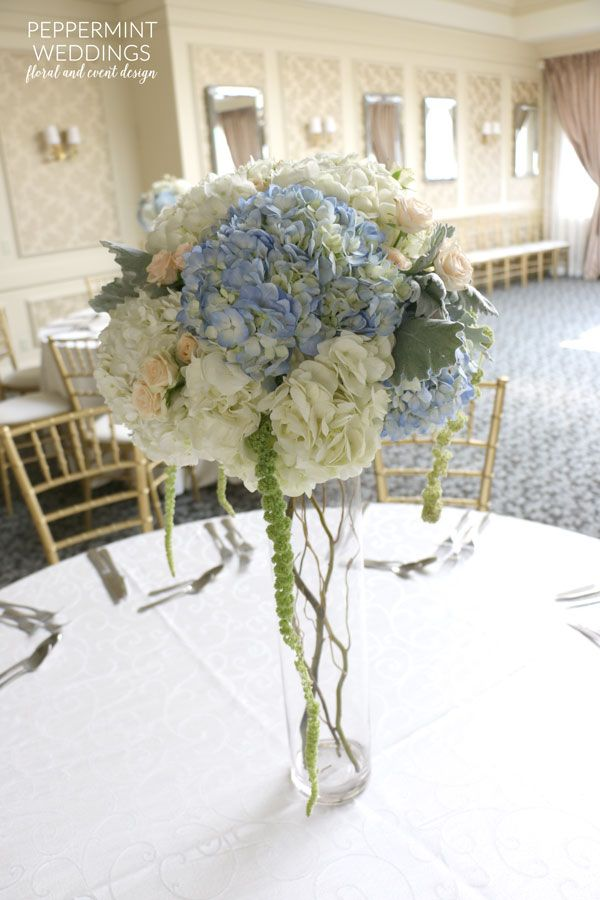 Peach Blue And White Centerpiece White Hydrangeas Blue