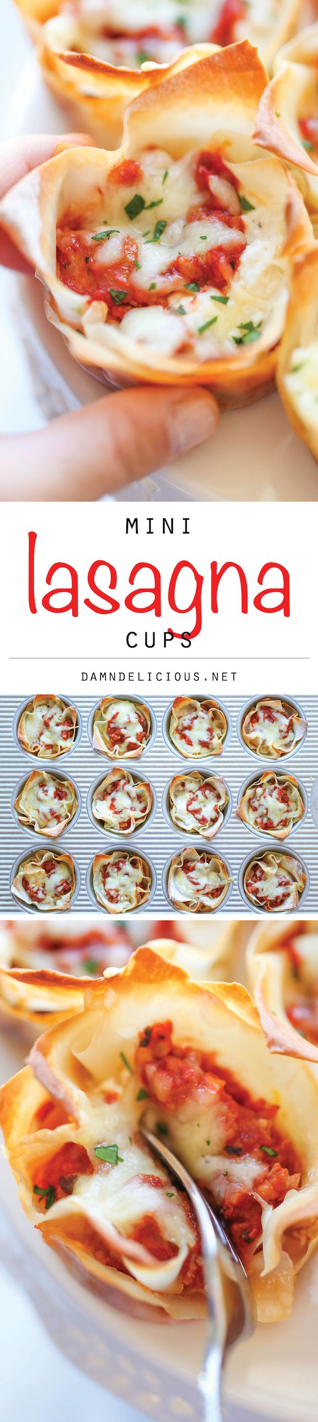 Mini Lasagna Cups – The easiest, simplest lasagna you will ever make, conveniently made into single-serving portions!