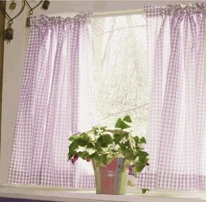 Light Purple And White Cafe Curtains Gingham Check