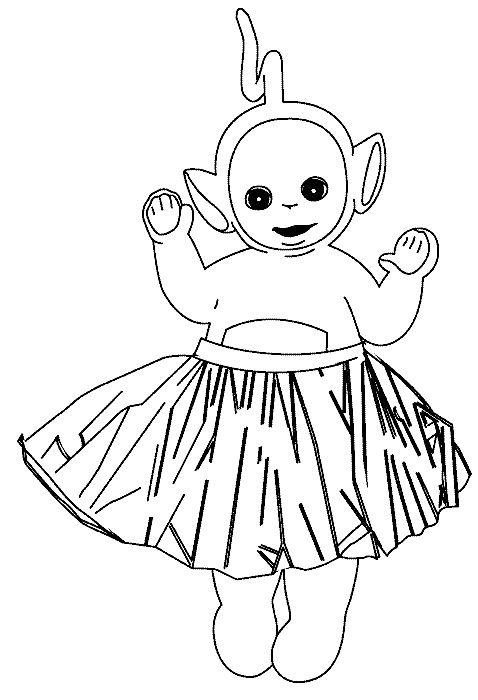 Teletubbies Laa Laa Dancing Coloring For Kids