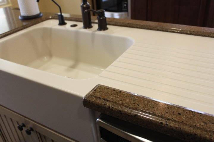 Custom Made Corian Farm Sink With Drainboard In A Hanstone