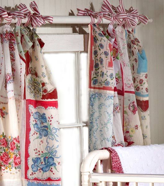 Old Handkerchiefs Into Curtains Handkerchief Hankie Ideas DIY Pinterest The Ribbon