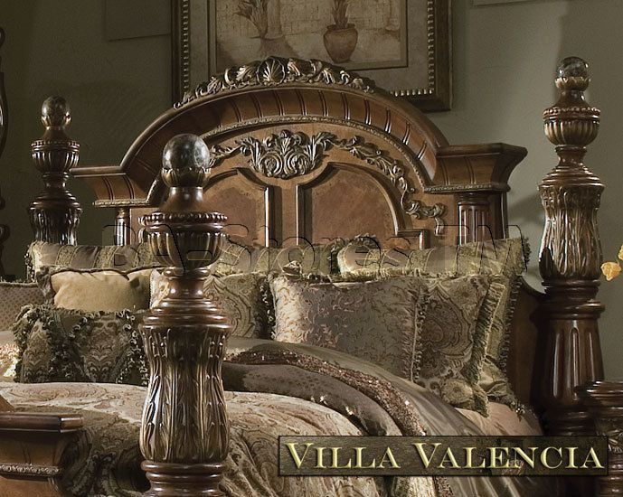 Michael Amini Excelsior Collection Bedroom Villa Valencia Classic Chestnut Bedroom Set By