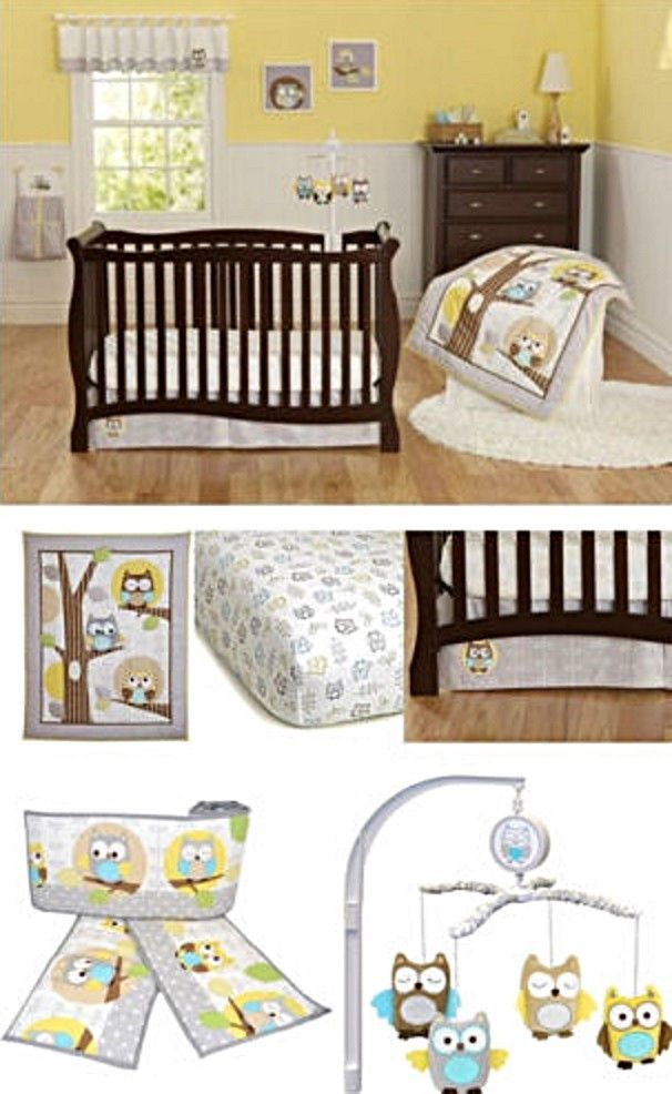 Yellow Gray Owl Neutral Baby Boy Girl Nursery 8pc Crib