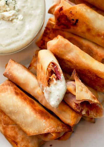 My Favorite Things: Buffalo Chicken Egg Rolls with a Blue Cheese Dressing from Smells Like Home