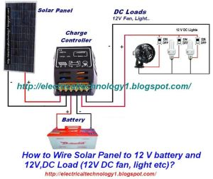 How to Wire Solar Panel to 12V battery & 12V,DC Load 12V