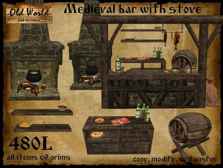Medieval Bar For Tavern With Stove Oven Old World