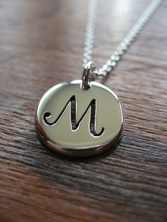 Letter M Initial Silver Pendant Necklace Initials