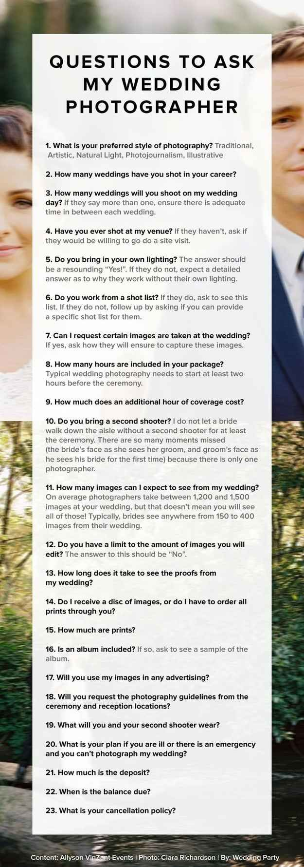 Ask wedding photographer