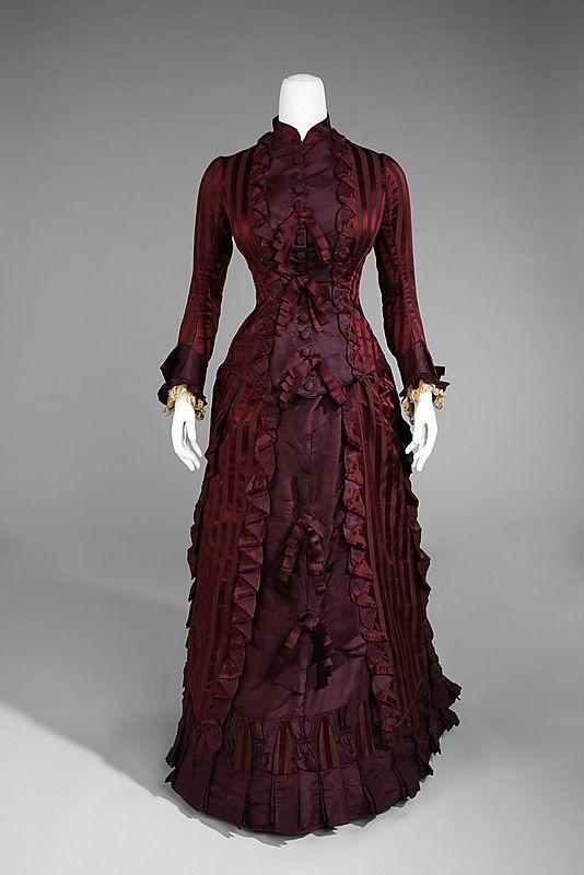 Silk wedding ensemble, 1878 #victorian