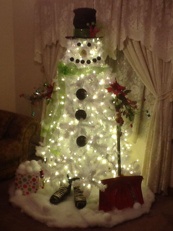 White Christmas Tree Snowman 2013 Christmas Pinterest