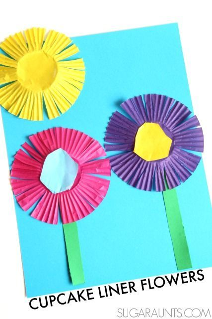 Make a spring flower craft and practice scissor skills with kids using cupcake liners.