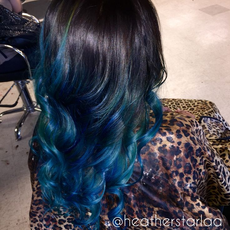Black To Blue Balayage Ombre Blue Ombre Blue Balayage