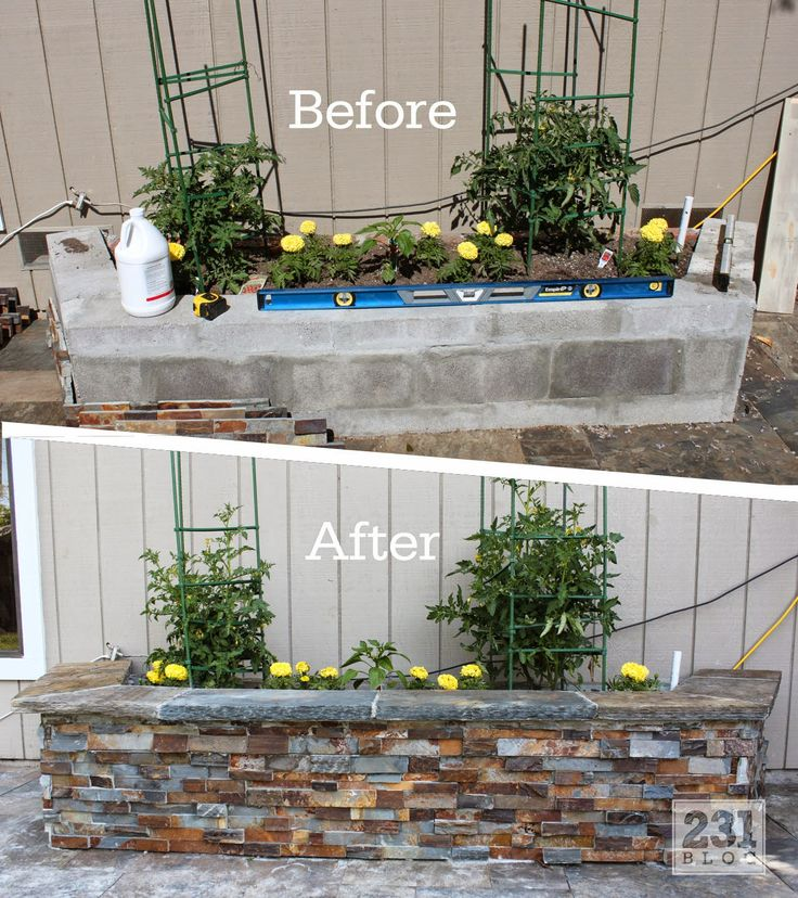 DIY Slate Ledger Stone Planter Boxes with a bench. Boxes built with cinder block and faced with stone, they only look