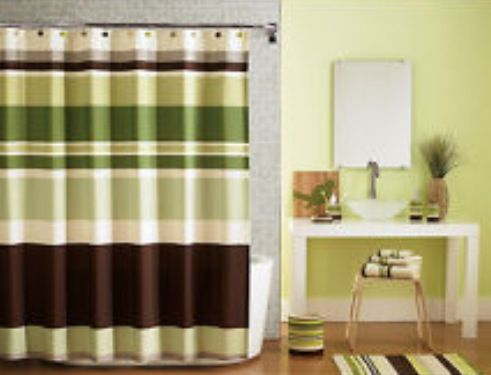 Shower Curtain Is Similar Green Accent Wall With Brown Or Tan Home Pinterest Accent