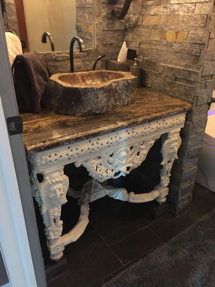 Our Castle Old World Powder Room With Stone From Floor