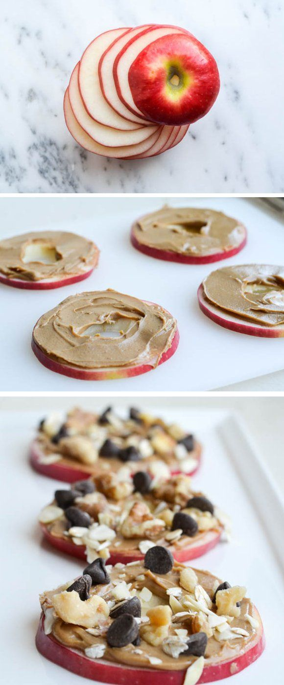 "Good Snack Ideas ♥ Easy Snack Foods ""Apple cookies make the perfect snack: Crisp juicy apple slices, smothered with nut butter,"