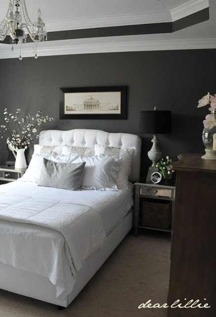 OUR BEDROOM INSPIRATION –  Walls- Benjamin Moore = Kendall Charcoal! I ♥ the charcoal color on the walls with the white linens!