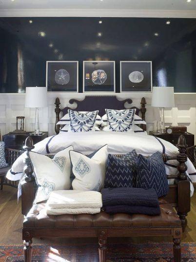 navy blue coastal bedroom design with glossy navy blue ...