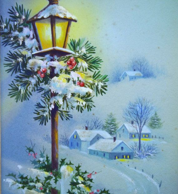 BEAUTIFUL Vintage Hand Painted Watercolor Christmas Card