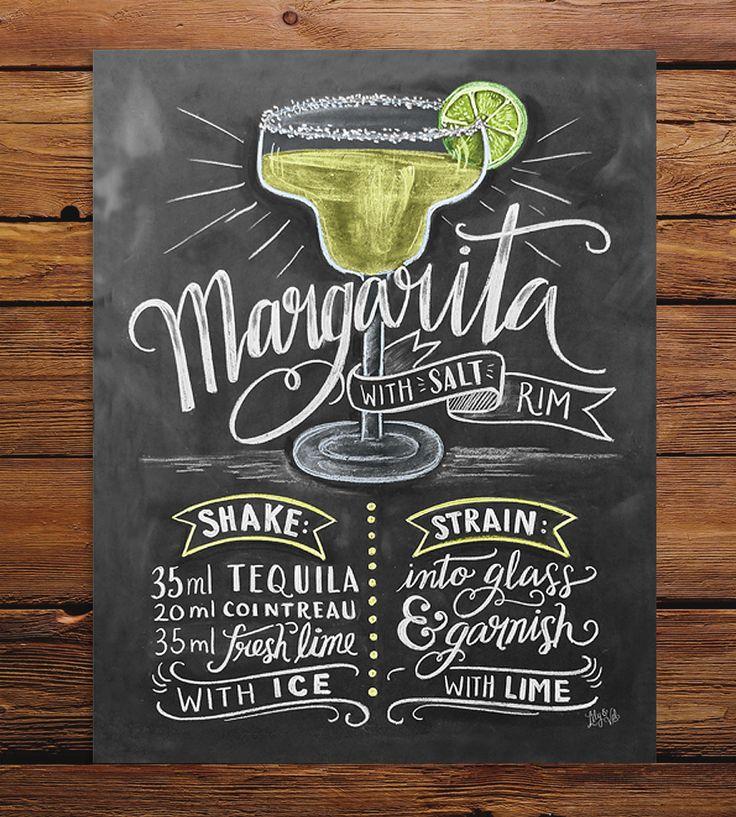 Margarita Recipe Chalkboard Art Print Poster Recipe