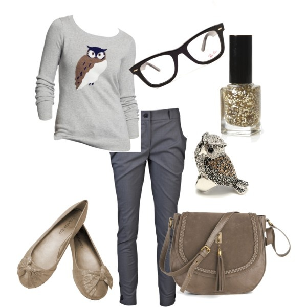"""""""Geek Chic"""" with owls on Polyvore  So me! Geek Chic back to school by"""