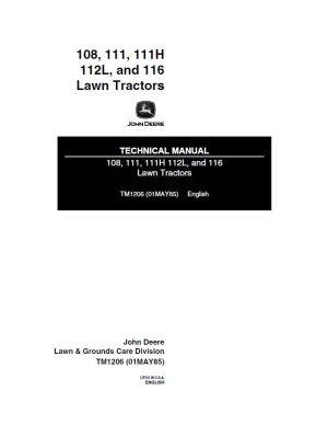 John Deere 108, 111, 111Н, 112L, 116 Lawn Тractors Technical Manual PDF, repair manual, Heavy