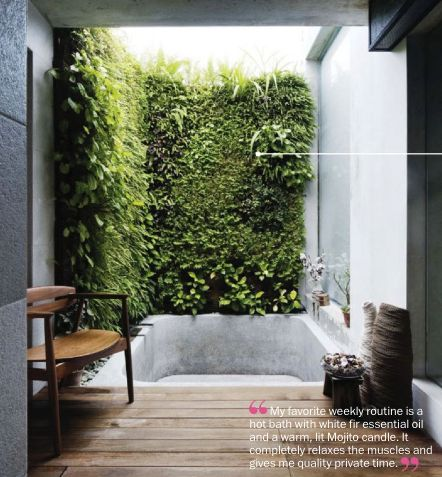 bathroom with vertical garden 25+ best ideas about Outdoor Spa on Pinterest | Outdoor
