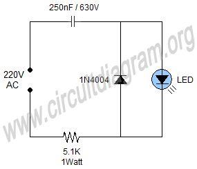 Simple 220V Mains Indicator LED Circuit Diagram