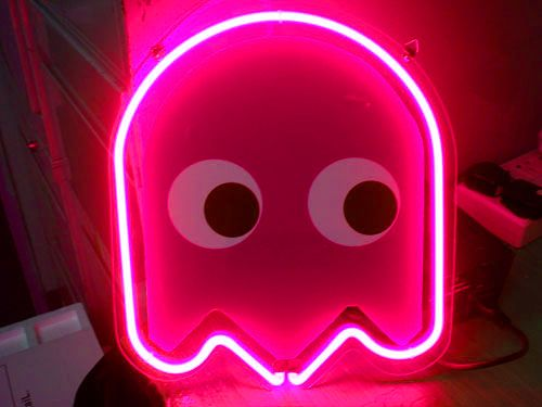 HOT PINK Pac Man Ghost Neon Sign Yes Yes Yes 80s