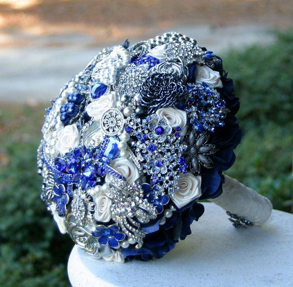Navy Blue Wedding Brooch Bouquet Charger Wedding Ideas