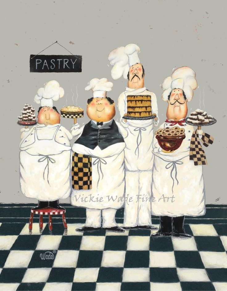 fat chefs art print chef paintings art kitchen art wall decor waiters cooks four tall on kitchen decor paintings prints id=67430