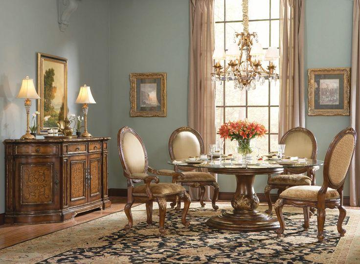 Hooker Furniture Beladora 72 Round Glass Top Table Set
