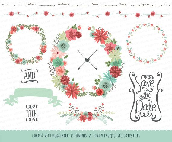 Wedding Floral Clipart Collection: Coral & Mint, Hand