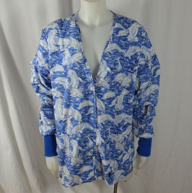 Crest Scrub Jacket Size Small Blue Dolphins Long Sleeve