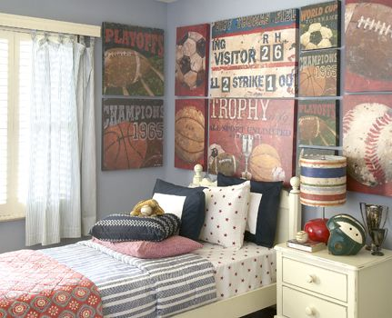 Love this old fashioned sports feel! In LOVE with this bedding! Also old signs a