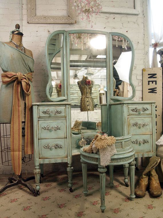 Shabby Chic Antique Vanity | Vintage Painted Cottage Shabby Aqua Chic Vanity by