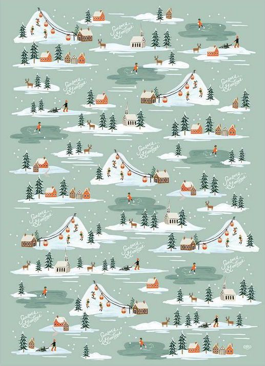 Holiday Snow Scene Wrapping Sheets Paper Rifle Paper Co