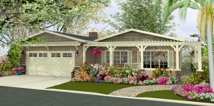 Ranch With Pergola Over Front Door How To Build A