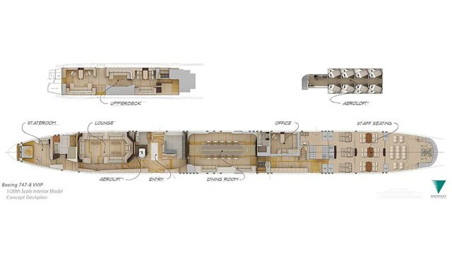 The Floor Plan For The Boeing 747 8 Plane Which Includes A