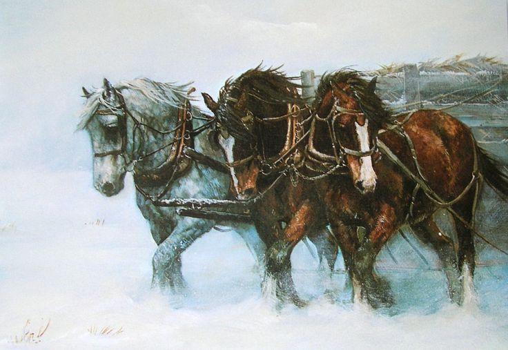 Leanin Tree Chris Cummings Work Horses Wagon Christmas