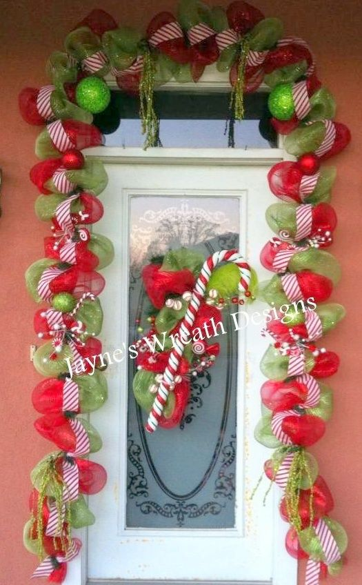 Christmas Garland And Door Swag With Candy Cane Wreaths