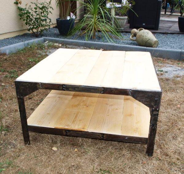 TABLE INDUSTRIELLE double plateau Par Mobilier del Crapou ...