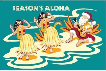 Hawaiian Christmas Cards Box Of 10 Retro Santa Amp Hula
