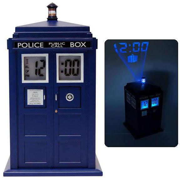 Doctor Who TARDIS Projection Alarm Clock. Plays the TARDIS noise when the alarm goes off. Do want.